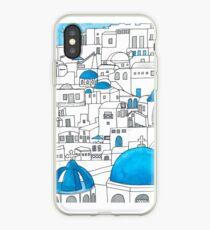 Vinilo o funda para iPhone Santorini, paraíso azul y blanco