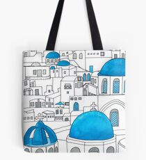 Santorini Blue and White Paradise Tote Bag