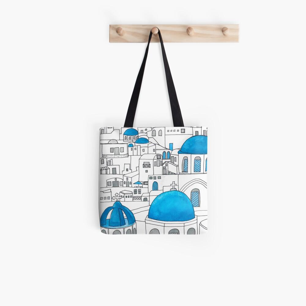 Santorini, paraíso azul y blanco Bolsa de tela