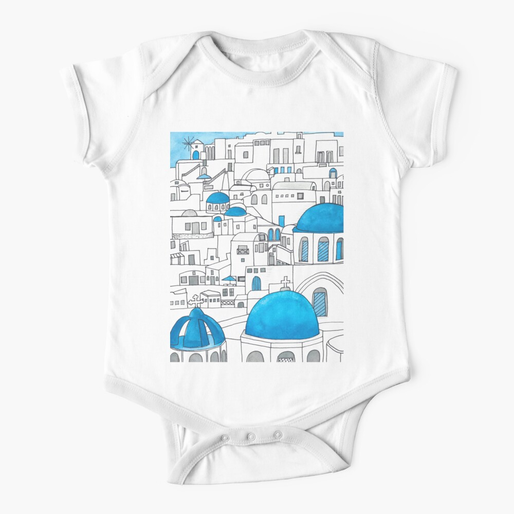 Santorini Blue and White Paradise Baby One-Piece