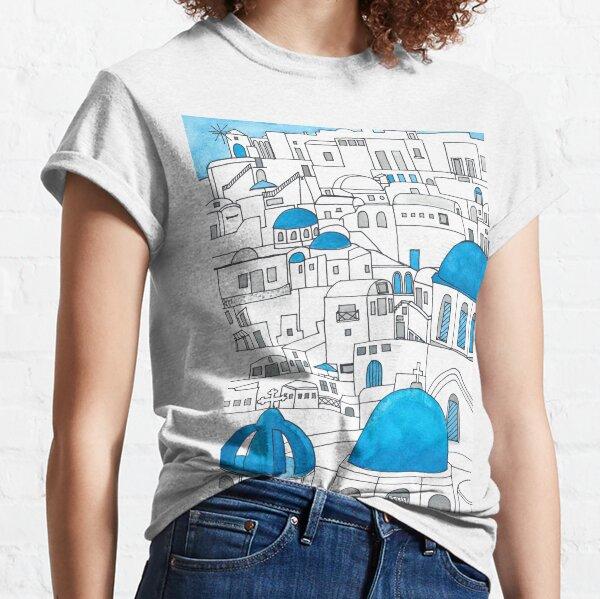 Santorini Blue and White Paradise Classic T-Shirt