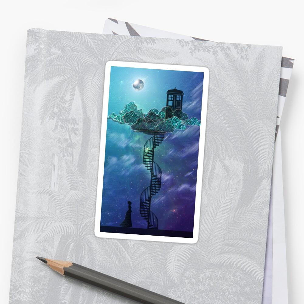 Caja azul en el cielo victoriano Pegatina