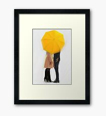 The Yellow Umbrella | Swan Queen Framed Print