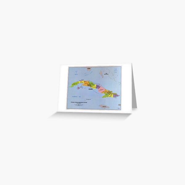 Map of Cuba, Cuban Administration Units (1986) Greeting Card
