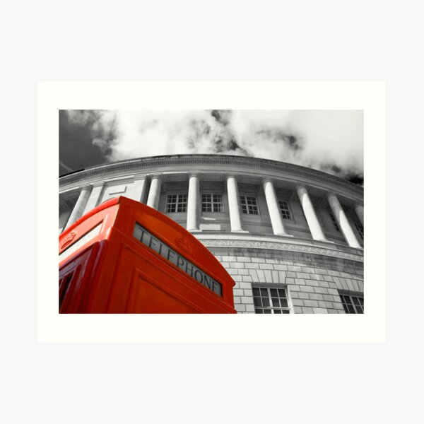 Red telephone box and Manchester library Art Print
