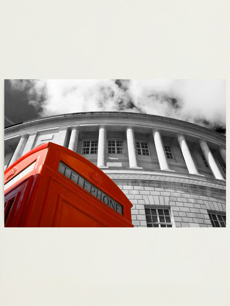 Alternate view of Red telephone box and Manchester library Photographic Print
