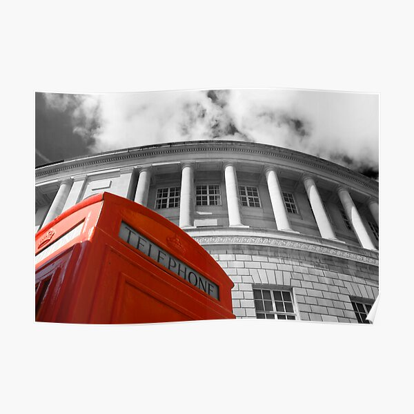 Red telephone box and Manchester library Poster
