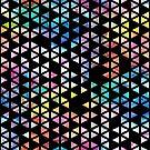 Rainbow Triangles - black background by Em Allard Smith