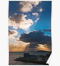 Morning sunbursts over San Mateo-Hayward Bridge, San Francisco Bay Poster