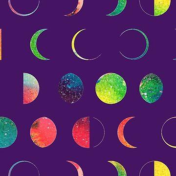 Rainbow Moon Phases - purple background by emmaallardsmith