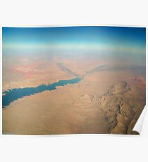 View from Airplane window Lake Mead & Mountains Poster
