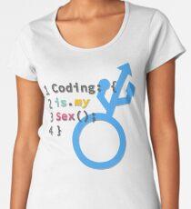 Coding is my Sex - Blue / White Women's Premium T-Shirt