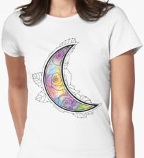Hand Painted Watercolor Moon Roses Women's Fitted T-Shirt