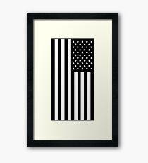 Black And White American Flag Framed Print