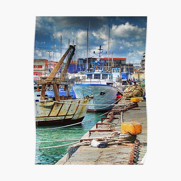 Barche ormeggiate al porto Poster