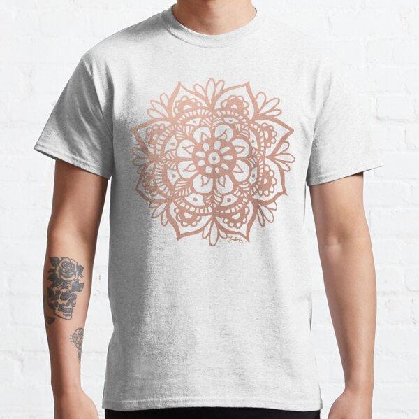 Flor de Mandala de oro rosa Camiseta clásica