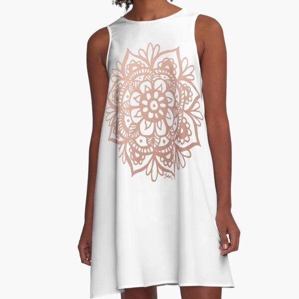 Rose Gold Mandala Flower A-Line Dress
