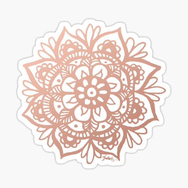 Rose Gold Mandala Flower Glossy Sticker