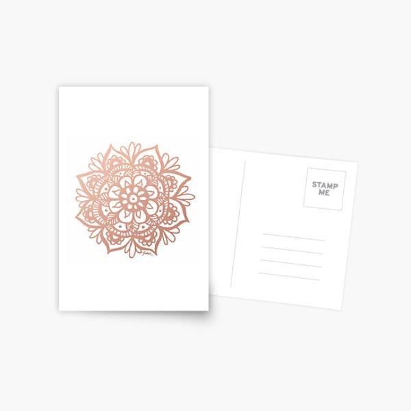 Rose Gold Mandala Flower Postcard