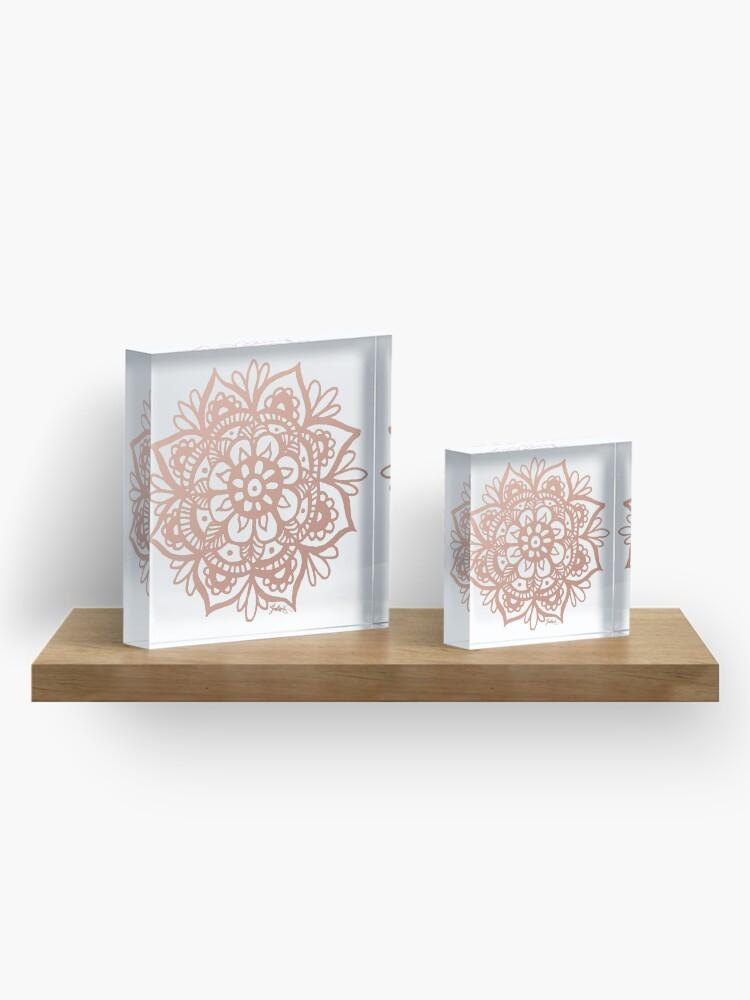 Vista alternativa de Bloque acrílico Flor de mandala de oro rosa