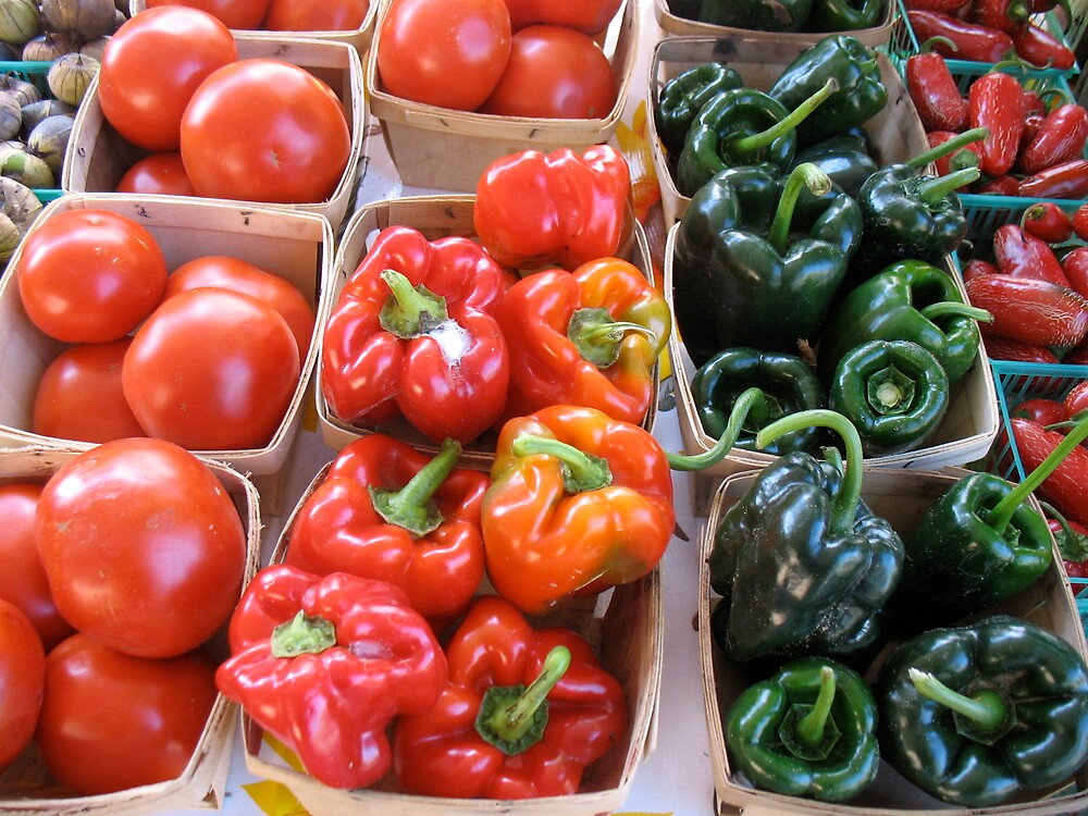 Tomatoes and peppers at Ann Arbor Farmers' Market by Roger Wheaton