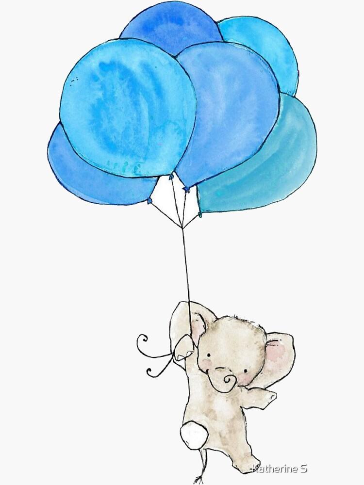 Baby Elephant Holding Blue Balloons by katherineshek