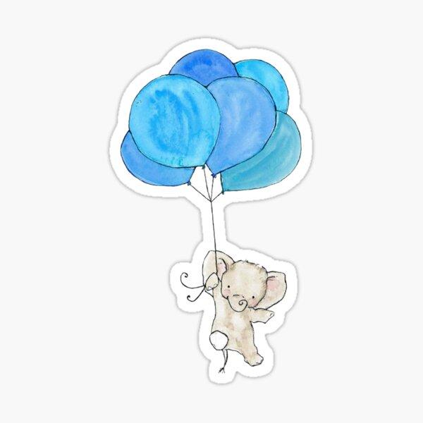 Baby Elephant Holding Blue Balloons Sticker