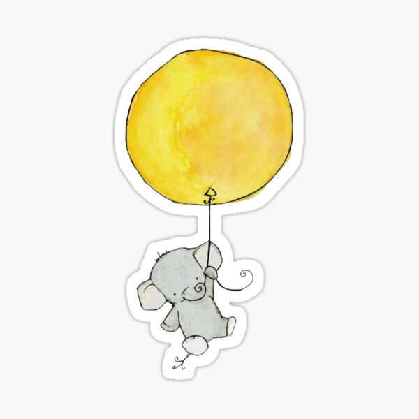 Bebé elefante sosteniendo globo amarillo Pegatina