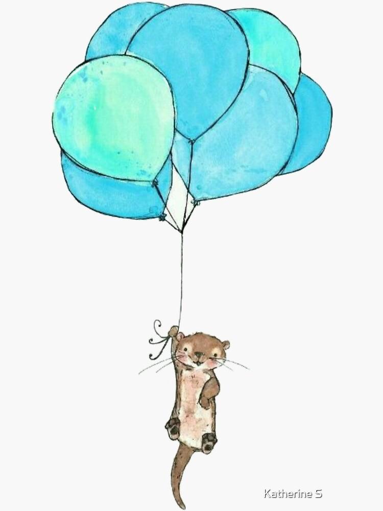 Baby Sea Otter Holding Blue Balloons by katherineshek