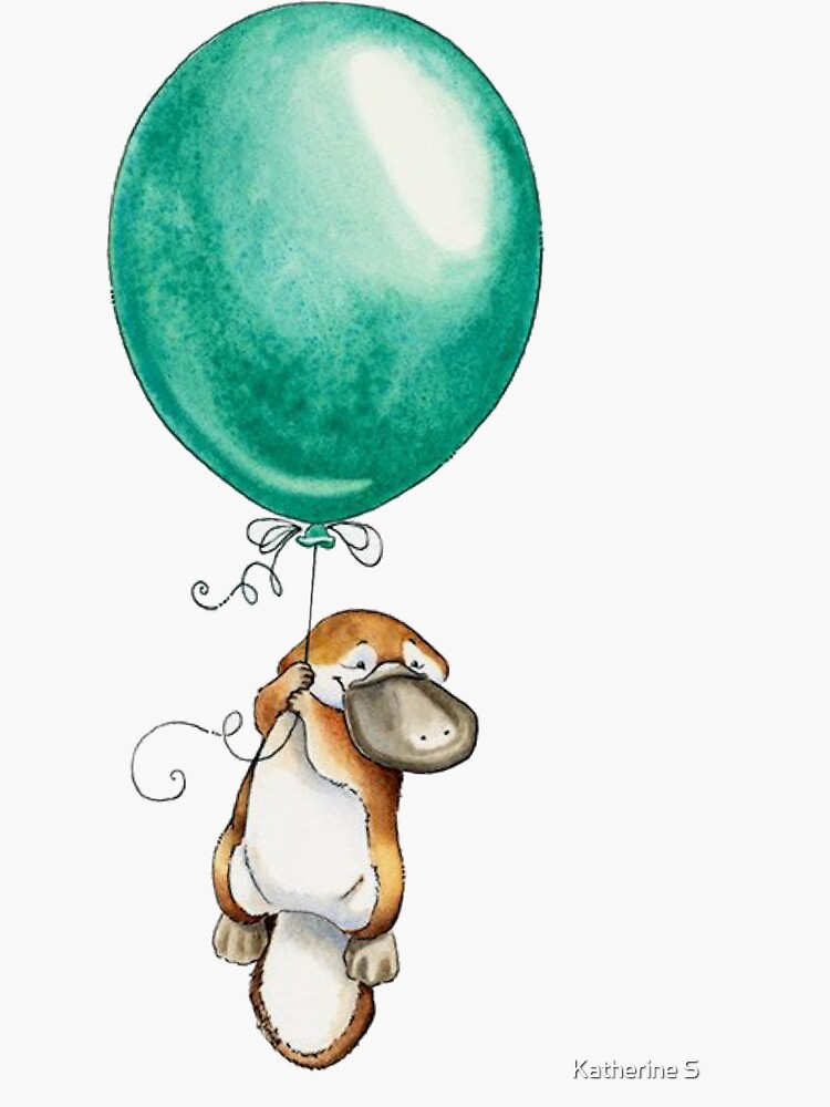 Platypus Holding Green Balloon by katherineshek