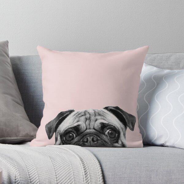 Blush pink Pug pop Throw Pillow