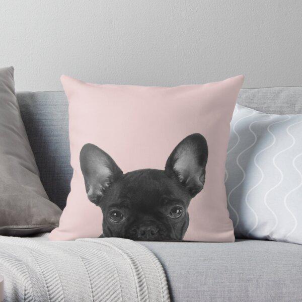 Blush pink Frenchie pop Throw Pillow