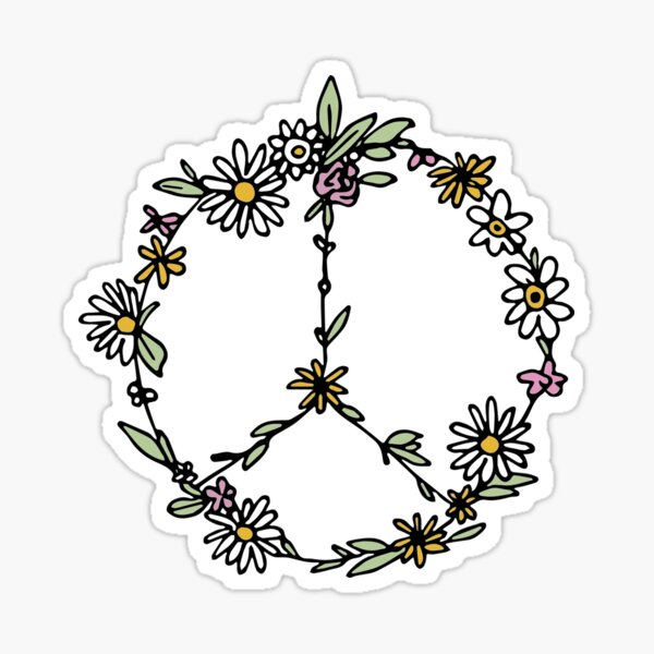 Watercolor Peace Sign Tapestry Sticker