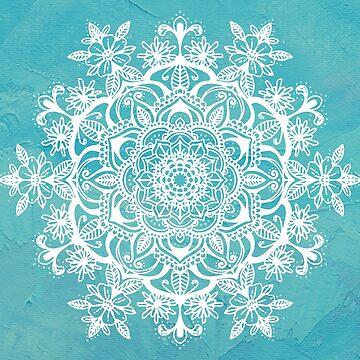 Teal Blue Flower Mandala Tapestry Pattern by aterkaderk