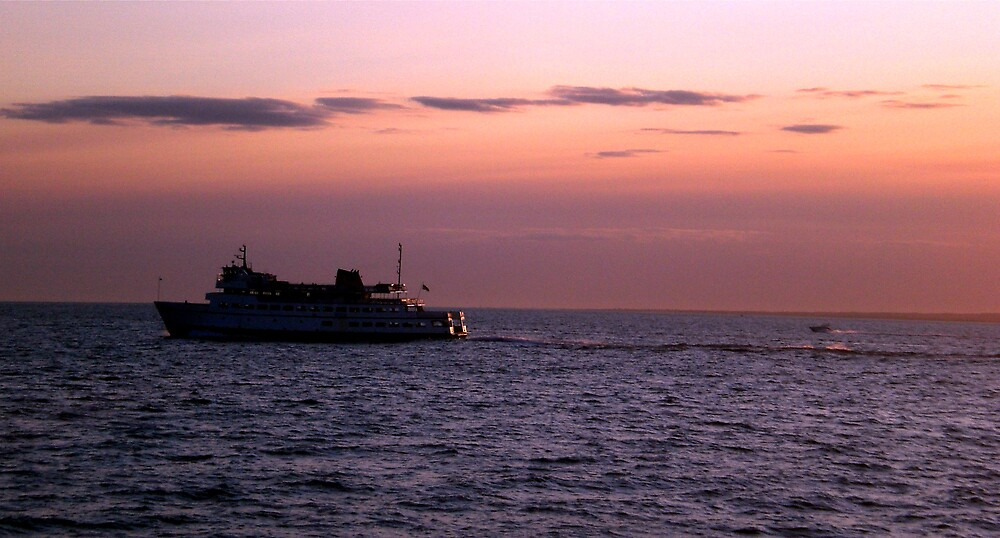 Ferry at Sunset by introspectionx