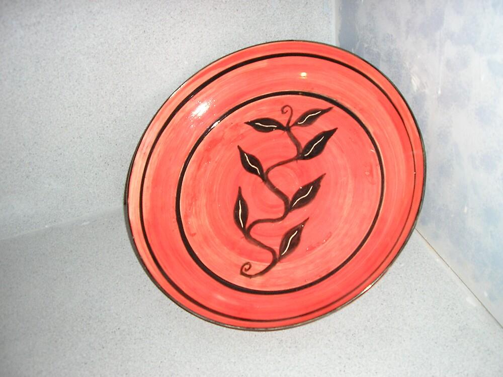 brush worked ceramic platter by Noel McCusker