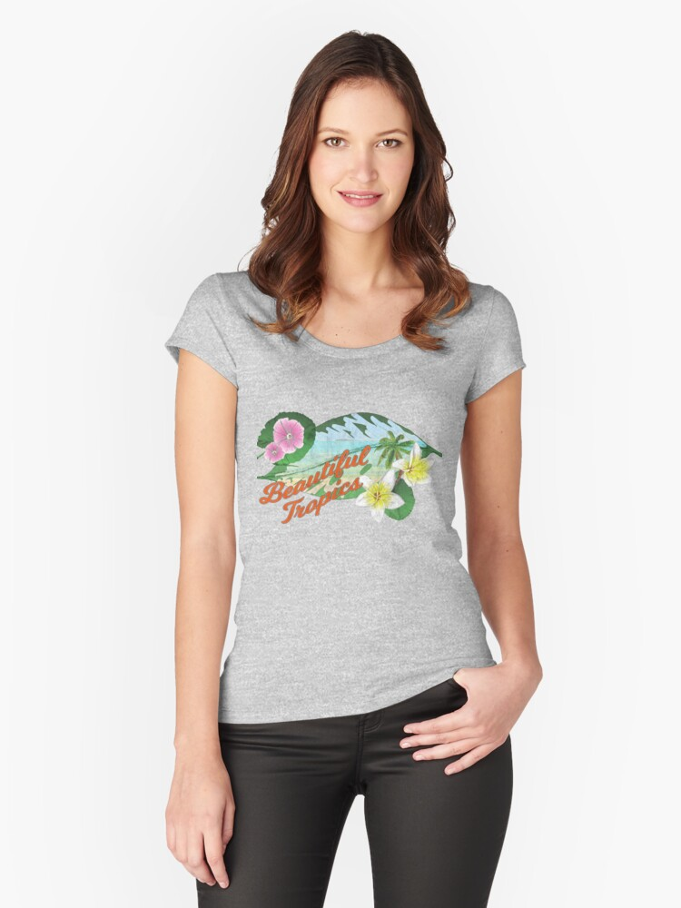 Retro Tropical Women's Fitted Scoop T-Shirt Front