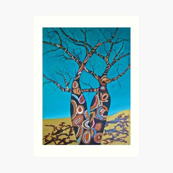 BOAB TREES ON Blue Art Print