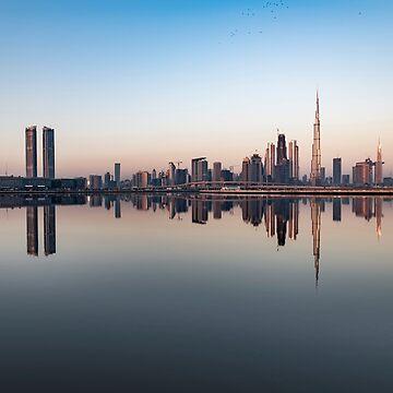Skyline of Dubai at Sunrise by stedata