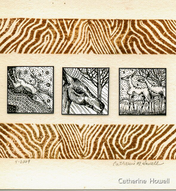 Inchie Deer Trio Pen and Ink With Hand Pulled Lino Border Print on Hot Press Paper by Catherine  Howell