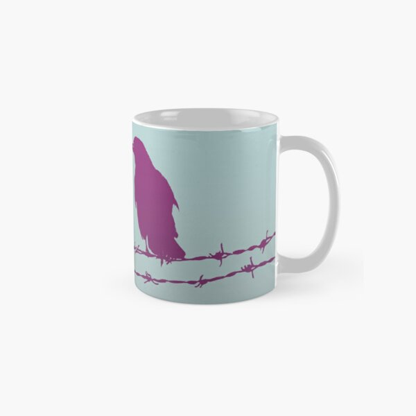 Bird on barbed wire in pastel Classic Mug