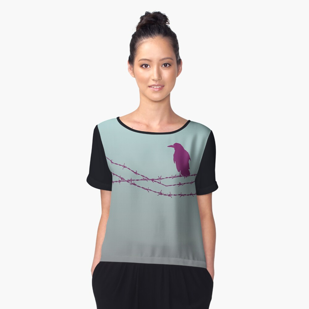 Bird on barbed wire in pastel Women's Chiffon Top Front