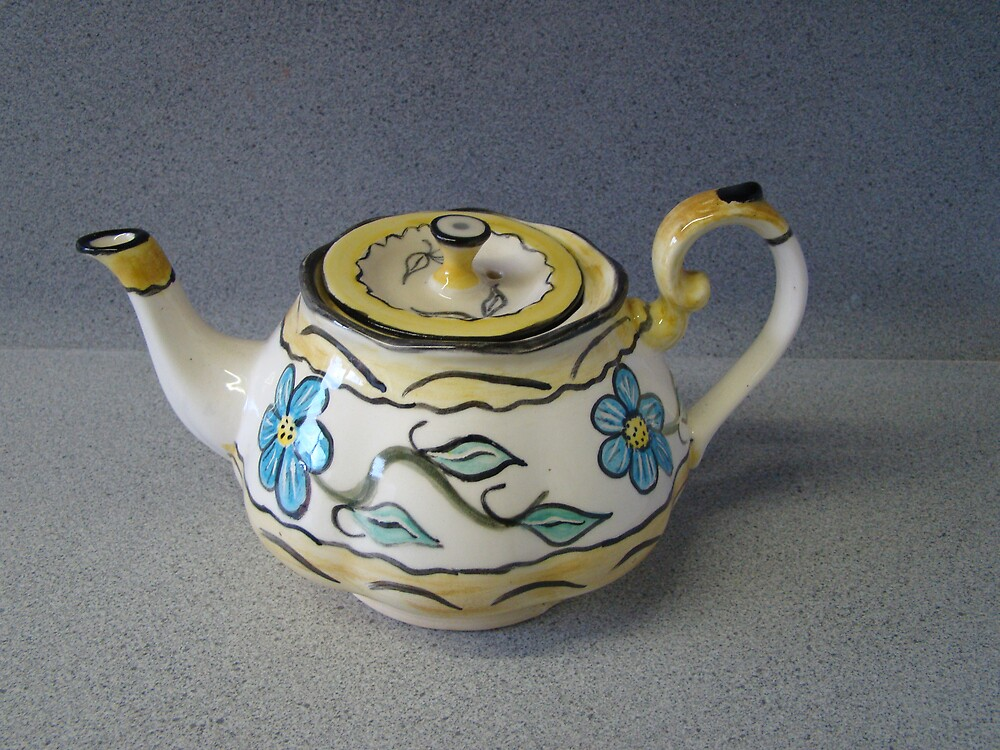 colourful brushworked teapot by Noel McCusker