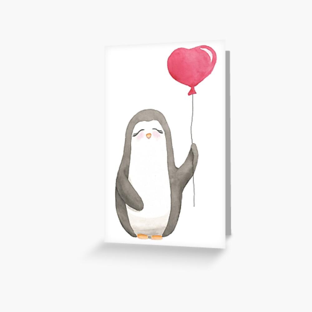 Pinguin Meg Luftballon Liebe Grußkarte