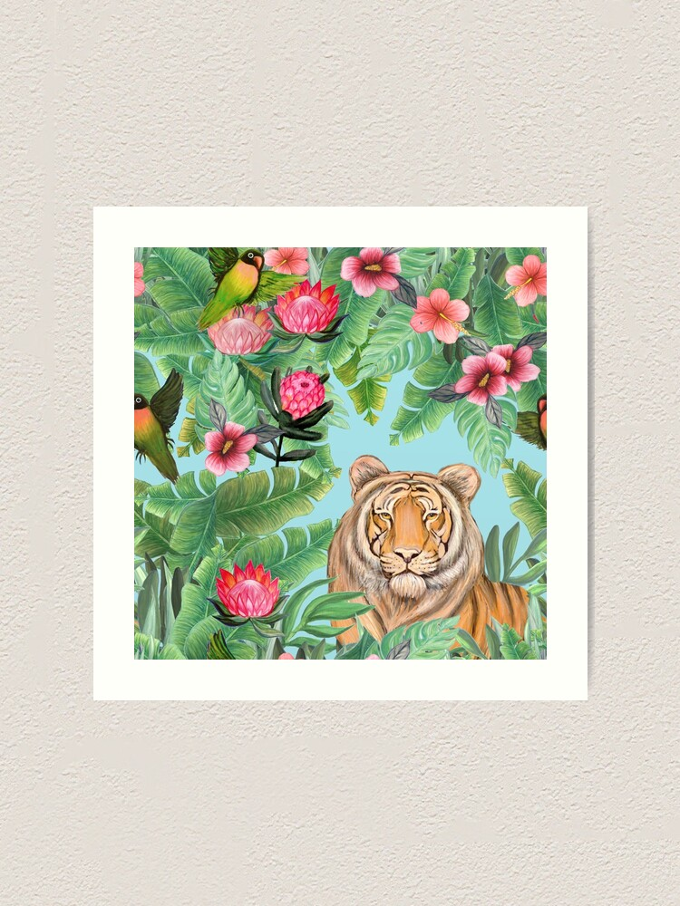 Alternate view of Tiger Jungle Tropical Flowers and palms with tiger hiding Art Print