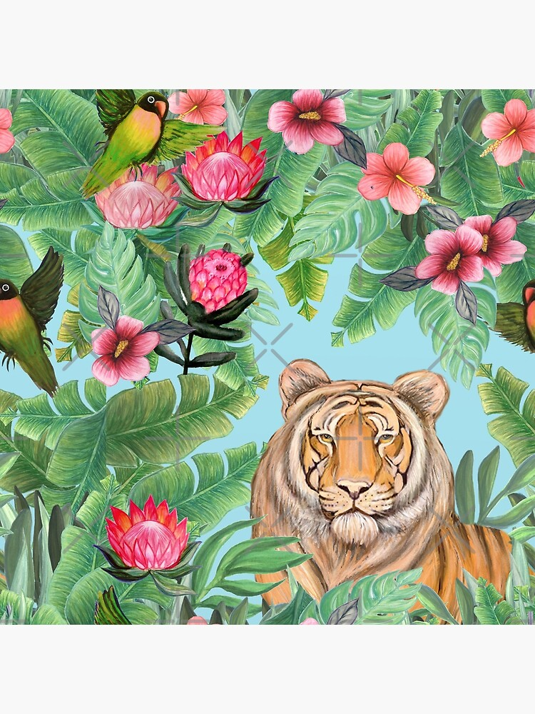 Tiger Jungle Tropical Flowers and palms with tiger hiding by MagentaRose