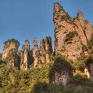 Zhangjiajie Pinnacles on a sunny day by Michael Matthews