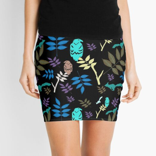 Folk Art on black Mini Skirt