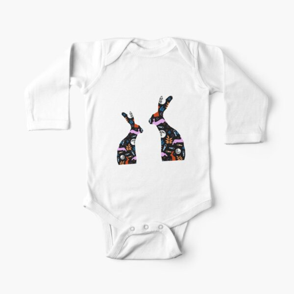 Patchwork Hares Long Sleeve Baby One-Piece