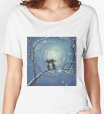 Cats in love in the moonlight Women's Relaxed Fit T-Shirt